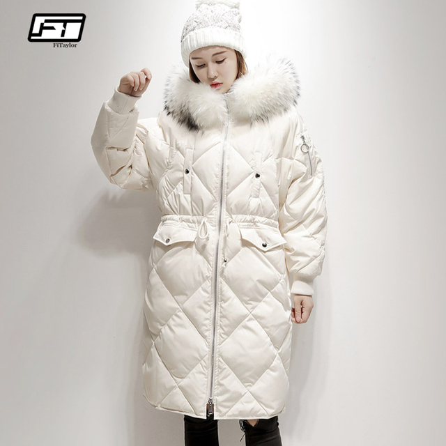 8a1229c43d3 Fitaylor Winter Warm 90% White Duck Down Parka Large Real Fur Collar Hooded  Snow Jacket Coat Female Casual Medium Long Outerwear