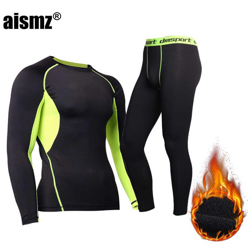 Aismz hiver pantalon de sous-vêtement thermique + vêtements hommes séchage rapide chaud Long Johns avec velours mâle chaud Fitness Thermo ensemble de sous-vêtements
