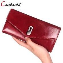 CONTACT'S frauen brieftasche Aus Echtem Leder Geldbörse Frauen luxusmarke Münze kartenhalter weiblichen handtasche Frauen Brieftasche Und Geldbörse rot