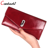 CONTACT S Women Wallet Oil Genuine Leather Wallet Women Luxury Brand Coin Card Holder Female Clutch