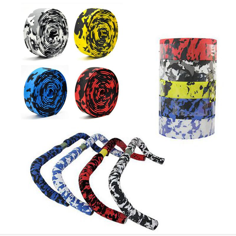1 Pair Bicycle Handlebar Tape Camouflage Cycling Road Bike Handle Belt Cork Wrap Bike Bicycle Cork Handlebar Tape Wrap