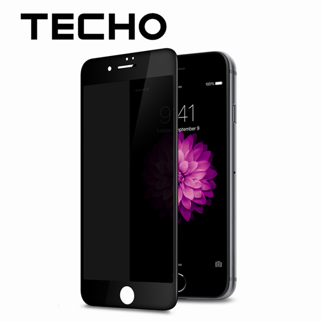 3ffe7c92c51bd1 TECHO Full Cover Film Anti Glare Shield Tempered Glass Privacy Screen  Protector For iPhone 6 6s 7 8 Plus Phone [Black]