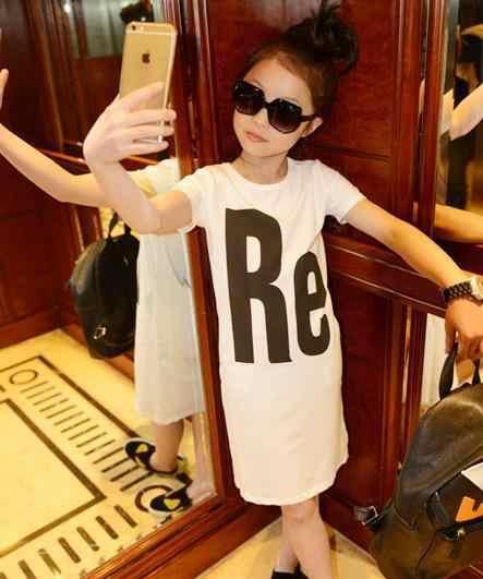 Платье для девочек-подростков 2019 летние большие девочки футболка с коротким рукавом платье для девочек От 7 до 16 лет подростков детские топы