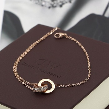Fashion Rose Gold Color Beautiful Anklet Double Circle Chain Roman Numeral And Crystal Anklet Woman Gift Stainless Steel Jewelry 4