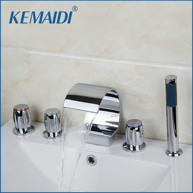 KEMAIDI  Bathtub Mixer Chrome Bathtub Bathroom Faucet 5 PCS Set Deck Mounted 3 Handles Taps Waterfall Faucets Mixers & Tap flg free shipping 3 pcs tap waterfall bathroom basin sink bathtub mixer faucet chrome finish with strainer deck mounted taps 303