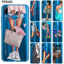 Modne szpilki dziewczyna kobieta Etui na telefony dla Huawei P30 Lite P30 Pro P20 Lite p8 Lite p9 Lite 2017 P inteligentne P10 Lite P10 Etui tanie tanio TWBABD Pół-owinięte Przypadku Anti-knock Odporna na brud Wzorzyste cute For Huawei Soft TPU Back Cover High Quality A++++