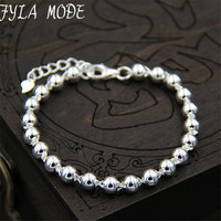 Fyla Mode Top Quality 100 S925 Sterling Silver Jewelry 4mm Silver Round Beads With Heart Charms