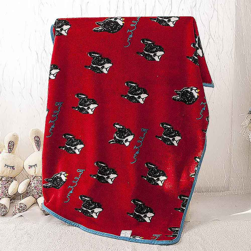 Red French Bulldog Pet Cats Rest Flannel <font><b>Blanket</b></font> Cushion Warm Sleep Nap Cover Mat Quilt Plush Carpet Coral Fleece Dog Accessory