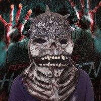Böse Geist Halloween Latex Vollgesichts Erwachsene Maske ungiftig Maskerade Kostüm Cosplay Maske Mit Grau Perücke