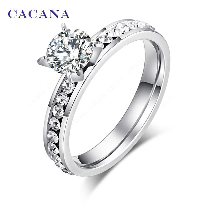 CACANA  Stainless Steel Rings For Women Circle CZ Personalized Custom Fashion Jewelry Wholesale NO.R174