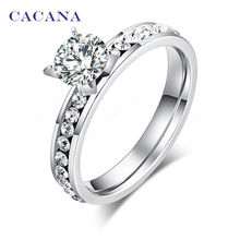 CACANA Stainless Steel Rings For Women Circle CZ Personalized Custom Fashion Jewelry Wholesale NO R174 cheap Trendy Wedding Wedding Bands None Metal Round Engagement