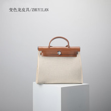 2018New Customized Rough canvas or cow leather Lock bag shoulder slung woman