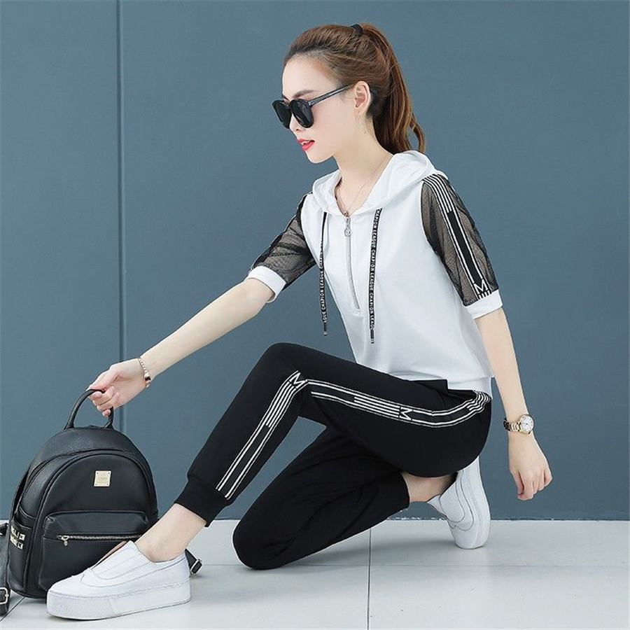 Women Set Clothes  Two Piece Set Short Sleeve Top And Tracksuit Sweatshirt Pants Summer Sport Wear Casual Suit 2019