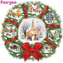 Fezrgea Christmas 5D Diy Diamond Painting Santa Claus Tree Elk Full SquareE Embroidery Cross Stitch Xmas Decor For Home