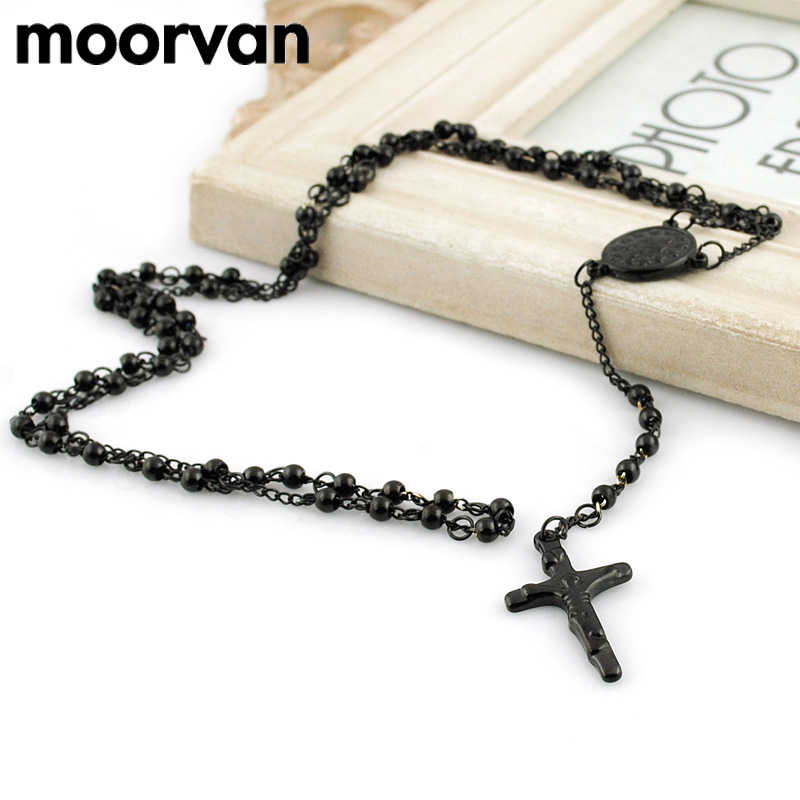 Moorvan 65cm long necklace women stainless steel necklace rosary religious beads jewelry with pray cross mens VRN24