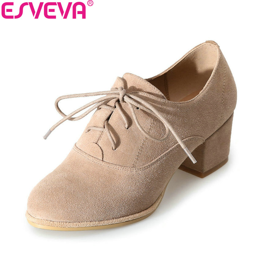 ESVEVA 2018 Round Toe Lace Up Woman Pumps Round Toe Shoes Women Square High Heels Cow Suede PU Pumps Elegant Shoes Size 34-39 big size 11 12 elegant round toe lace up casual square heel women s shoes high heels pumps woman for women