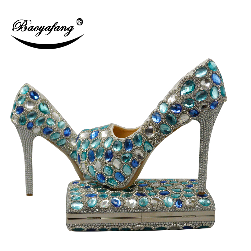 BaoYaFang Blue crystal rhinestone Womens wedding shoes with matching bags High platform shoes and purse set fashion shoes woman no brand pубашка