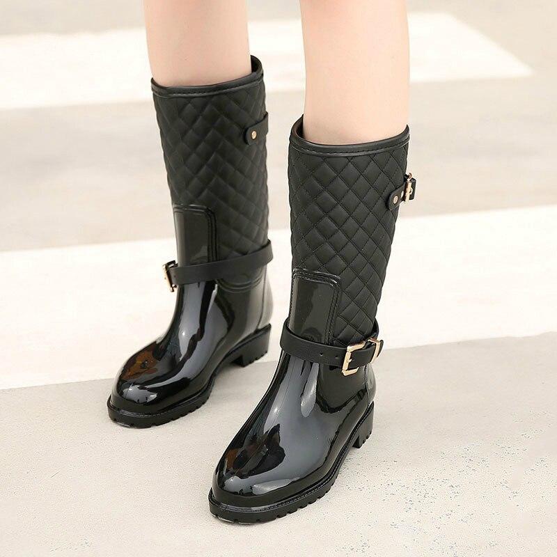 Mode Eau Ladys Pluie Sock Qualité Chaussures Black Dans La Rainboots Nouvelle black 2018 Hunter With Femmes Bottes Plaid Dame De Chaud xhrBdtsQC