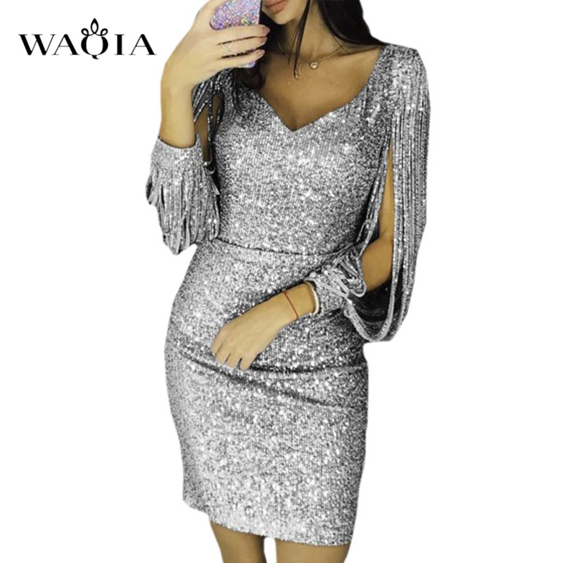 Detail Feedback Questions about WAQIA Plus Size Winter Sexy Sequin Tassels Dress  Women Sexy Bodycon Hollow Out Long Sleeve V neck Midi Party Club Dress ... 5b109213848a