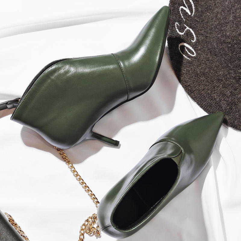 Corta Toe Med green Alta Las Zapatos Slip De Señoras Botines Marca Otoño Black Real Talón Atractivas on Cuero Punta Diseñador Calidad ZRX8wTqWEU