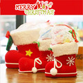 Christmas Decorations Flocking Candy  Boots Christmas Stockings Shoes bag wholesale Gift Box Wholesale