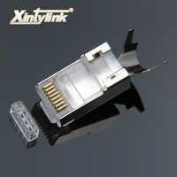 Xintylink rj45 stecker rj 45 ethernet kabel stecker cat7 cat6a 8P8C stp abgeschirmt katze 7 netzwerk terminals 1,3mm 10 stücke 50 stücke 100 stücke