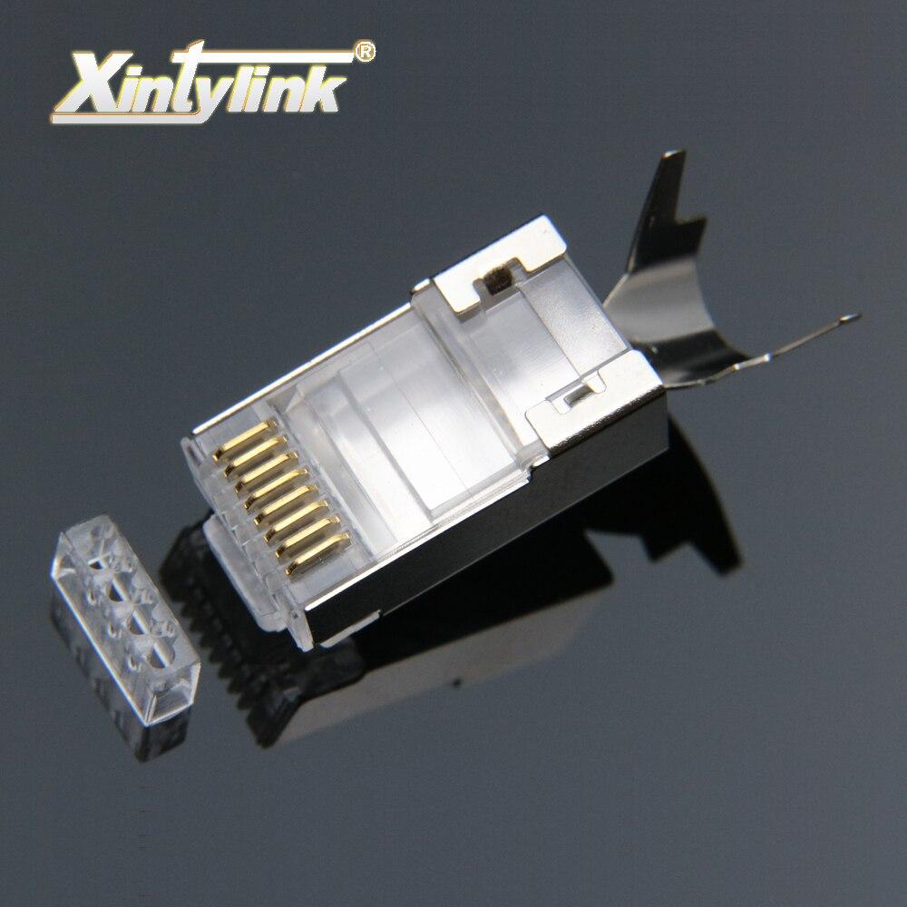 Xintylink rj45 connecteur rj 45 ethernet câble plug cat7 cat6a 8P8C stp blindé chat 7 terminaux de réseau 1.3mm 10 pcs 50 pcs 100 pcs
