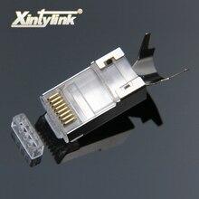Xintylink rj45 connettore rj 45 spina del cavo ethernet cat7 cat6a 8P8C stp schermato cat 7 terminali di rete jack da 1.3mm lan Gigabit