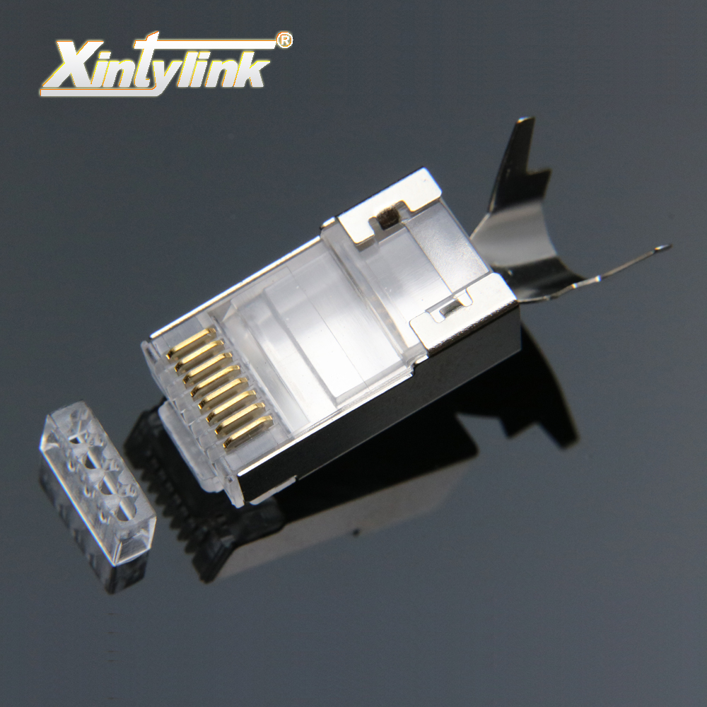 xintylink rj45 penyambung rj 45 plug kabel ethernet cat7 cat6a 8p8c stp shielded 7 rangkaian terminal 1.3mm 10pcs 50pcs 100pcs