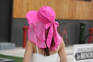 Image 3 - 太陽の帽子フェイスネック女性ソンブレロmujer veranoにワイドつば夏バイザーキャップ抗uv chapeu feminino屋外
