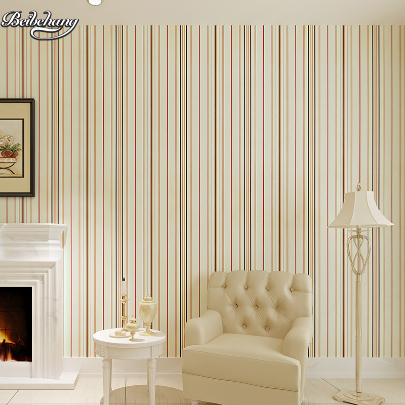beibehang Plain Paper Striped Wallpaper Mediterranean Style Vertical Striped Bedroom Living Room TV Sofa Background Wallpaper beibehang wallpaper vertical stripes 3d children s room boy bedroom mediterranean style living room wallpaper