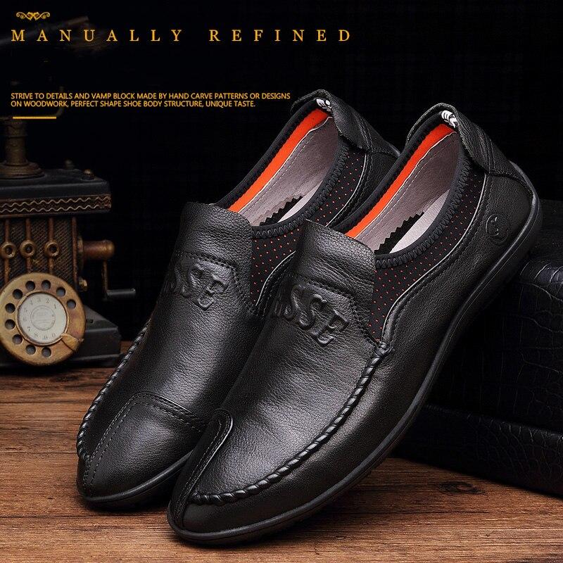 Удобни ръчно изработени кожени - Мъжки обувки - Снимка 3