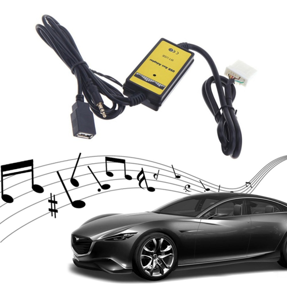 New 12 24 VCar Style 3.5mm USB Auto Car Aux In Adapter MP3 Player Cable Radio Interface Cable Fit For Mazda 3/CX7/323/MX5 CX 7