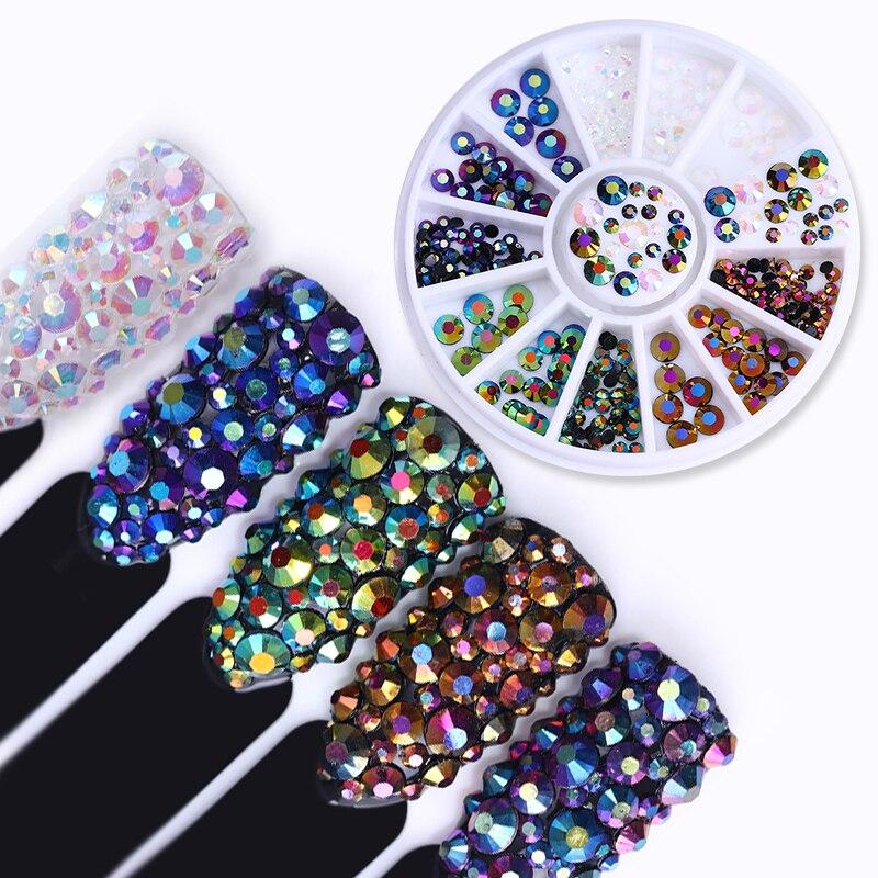 Chameleon AB Rhinestone 3D Nail Art Decoration Multi-size Crystal Non Hotfix Round Flat Bottom Manicure Nail Art Decoration