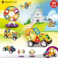 48 גודל סטנדרטי יח'\סט בנייה מגנטית בלוקים 3D בניין דגם המכונית גלגל הענק צעצועים חינוכיים לילדים