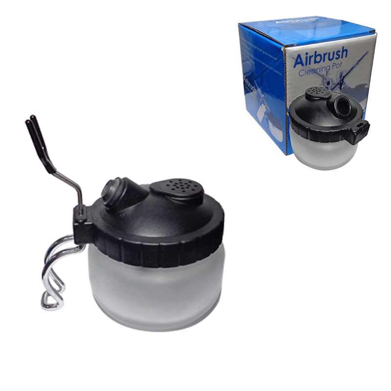 Airbrush Cleaning Pot Air Brush Cleaner Bottle Washing Tools For Paint Spray Pen Glass Cleaning Pot Jar With Holder