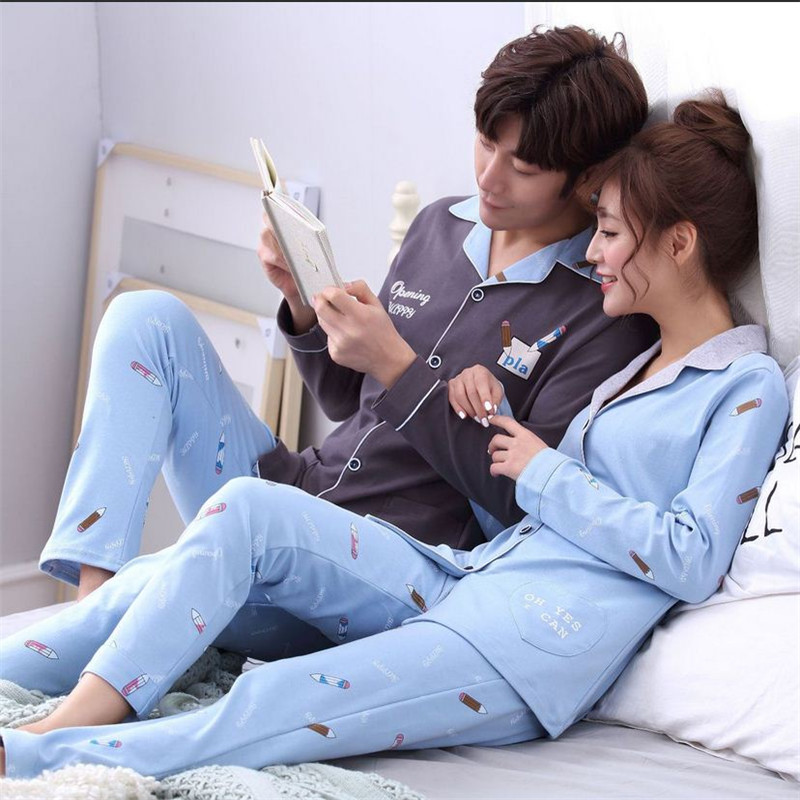 New purified cotton Couple Pajamas sets Turn-down Collar Long sleeved trousers Sleepwear Man/Woman home clothes Fashion bedgown