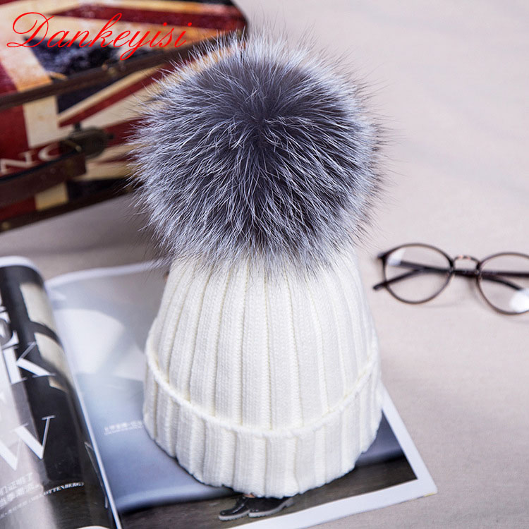 DANKEYISI Fashion Autumn Winter font b Women b font Cap Fox Fur Ball Hat Pom Poms