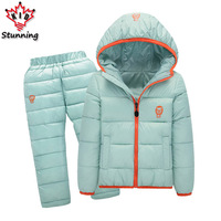 24M 7 Years Snow Wear Baby Boys Girls Clothing Sets 2017 Winter 2Pcs Girls Down Coats