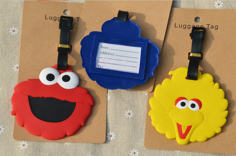 3pcs Street puppets el big bird cookie mons luggage tag BAG TAG Schoolbag cartoon kids toys Christmas gift boys girls anime