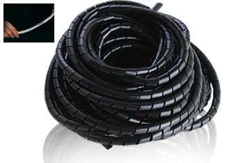 16mm 5M Spiral Cable Wire Wrap Tube Wind Harness Protection Belt Computer Manage Cord Black Color