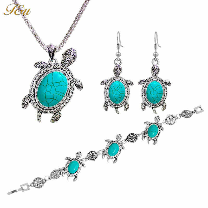 F&U Fashion Animal Turtle  Ancient Silver Color Pendant Bohemia Style Necklace Earrings And Bracelet Jewelry Sets Fine For Woman