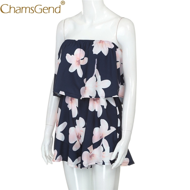 Free Shipping Women High Fashion Flower Print Strapless Playsuit Off Shoulder Ladies Shorts Jumpsuit 80516 Drop Shipping
