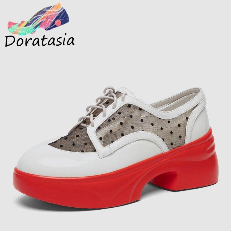 polka donna bianco appartamenti genuino donne Doratasia scarpe 2019 in pelle lacci mucca casual signore nuove nero di tennis zeppe dot estate di wCafq