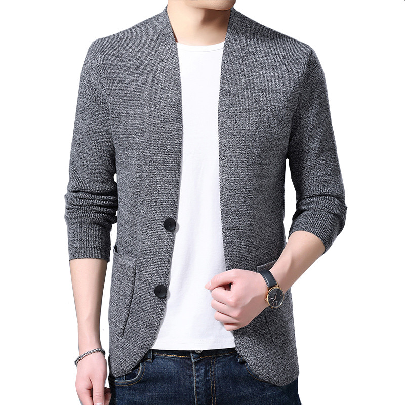 Sweater Cardigan Men's Wool Single Breasted Simple Solid Color Urban Style Loose Sweater Jacket Asian Size M-4XL 2019 New
