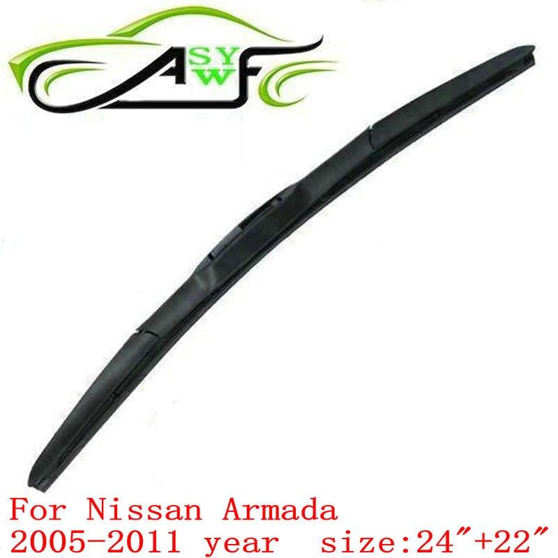 auto car windshield wiper blade for Nissan Armada (2005-2011), 24+22 U-hook  atural Rubber Wiper 2 PCS