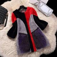 2018 Новое Женское пальто из овечьей шерсти, модная шерсть, плетеные волосы в длинном пальто