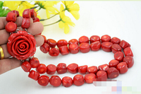FREE SHIPPING>>>@@ > 3161 real baroque red coral bead necklace