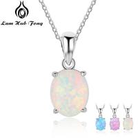 Женское ожерелье с подвеской из стерлингового серебра 925 пробы, овальное белое розовое ожерелье из голубого опала, подарки на день рождения ...