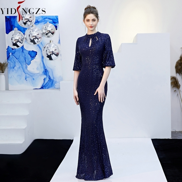 YIDINGZS Gold Sequins Evening Dress Hollow Out Elegant Mermaid Long Formal Party Dress